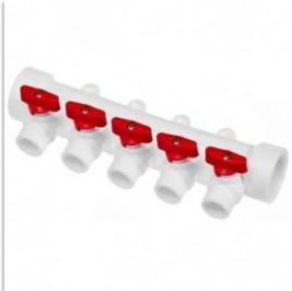 Коллектор полипропиленовый PPR 40х20 5 выходов (красные краны) TEBO